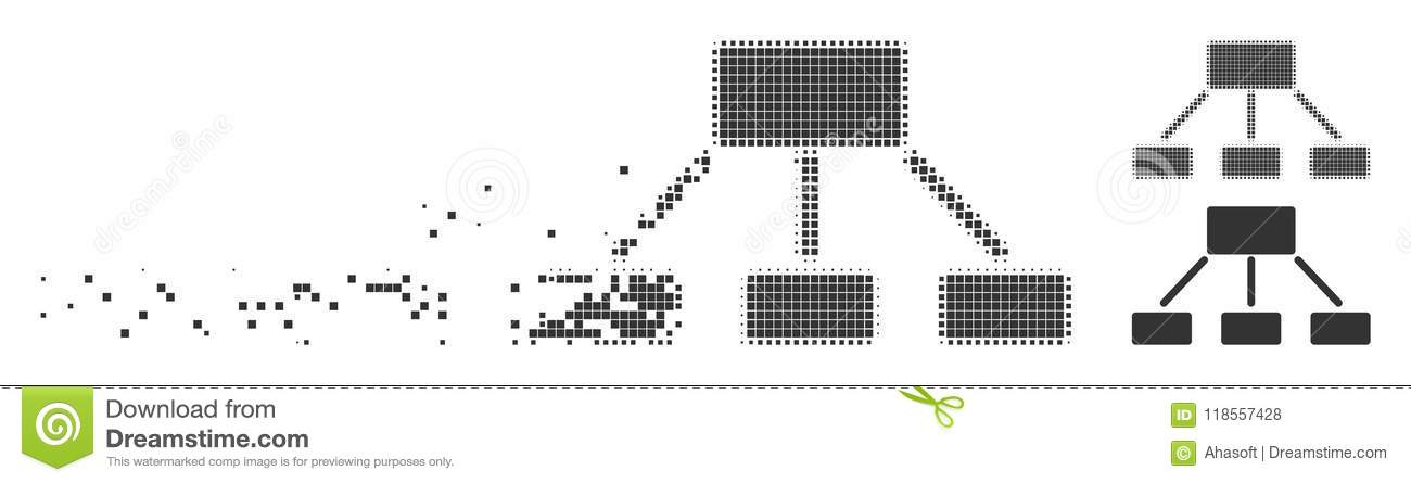 Hierarchy Fractured Pixel Halftone Icon