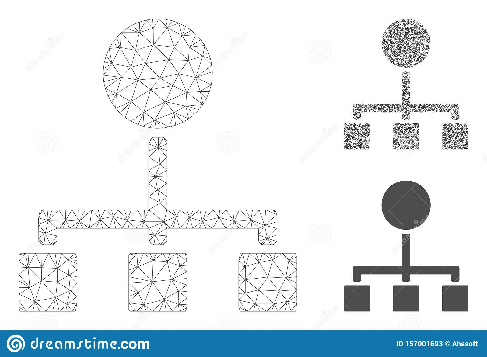 Hierarchy Vector Mesh Wire Frame Model and Triangle Mosaic Icon