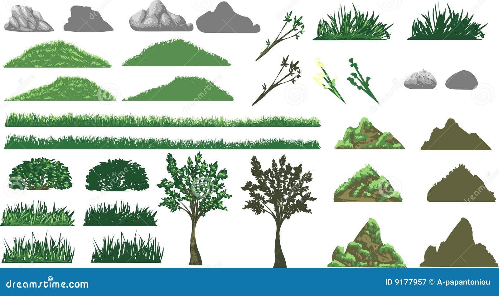 Hierba, árbol y colinas fijados