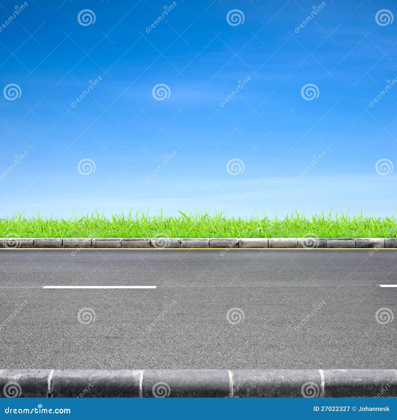 Hierba del borde de la carretera y cielo azul