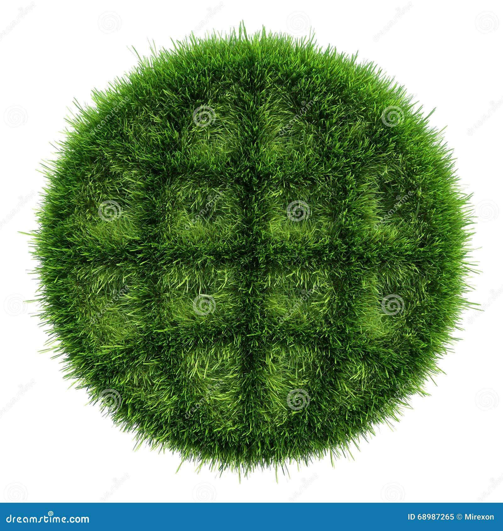 Hierba verde con las áreas oscuras del esquema en forma un icono del globo