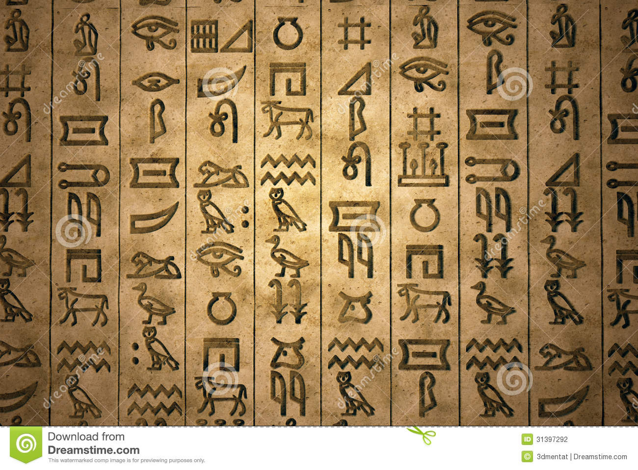Set of characters of an ancient writing system, hieroglyphs. It is a ...