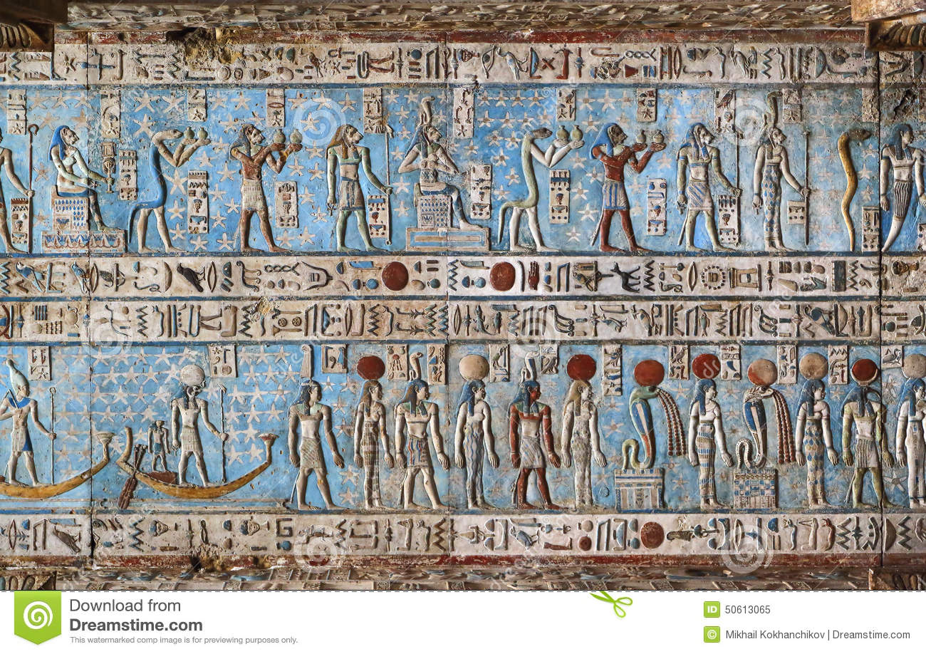 hieroglyphic carvings in ancient egyptian temple stock image image