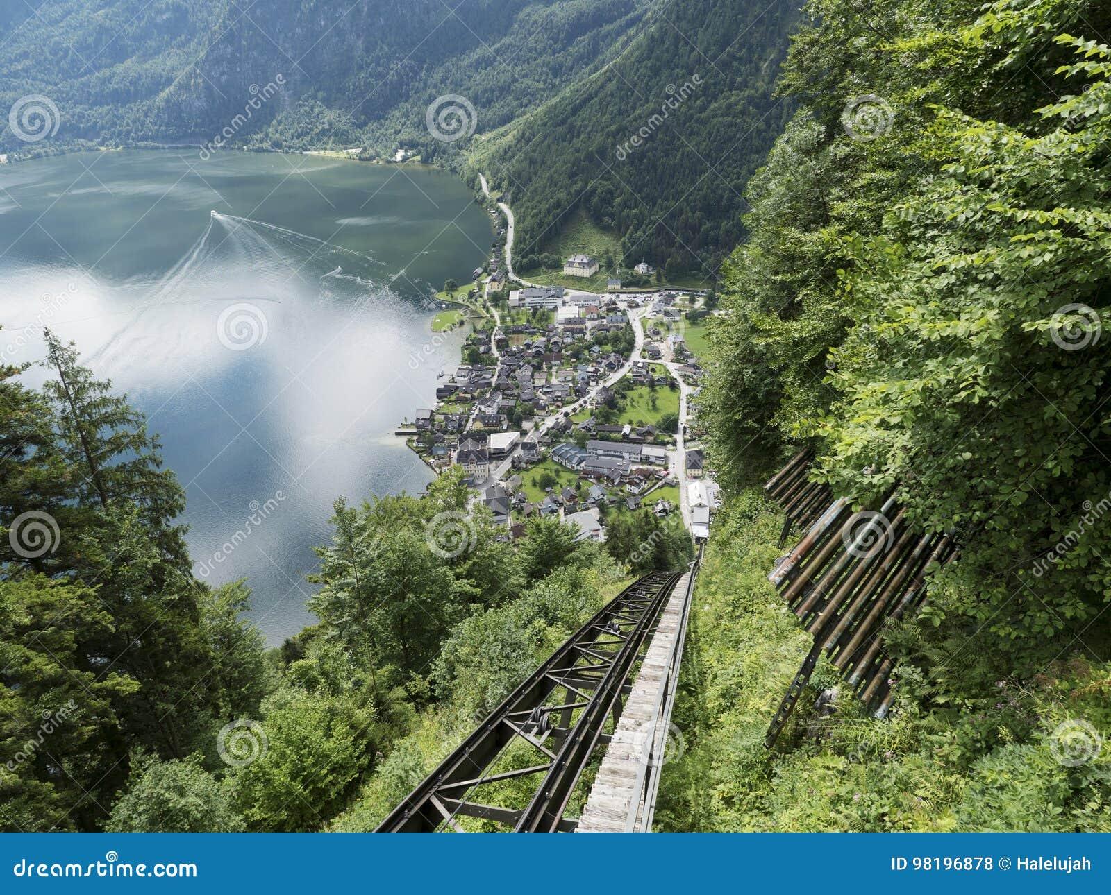 High-altitude cog railway, rail lift in Hallstatt. Mountain lake, Alpine massif, beautiful canyon in Austria.