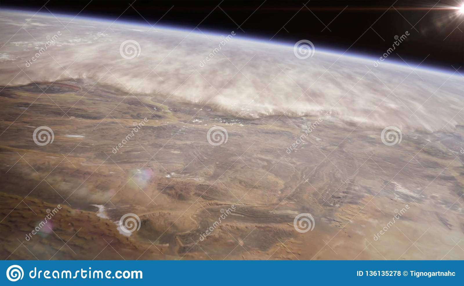 High altitude view of the Earth in space. The Namib desert in the south-west Africa