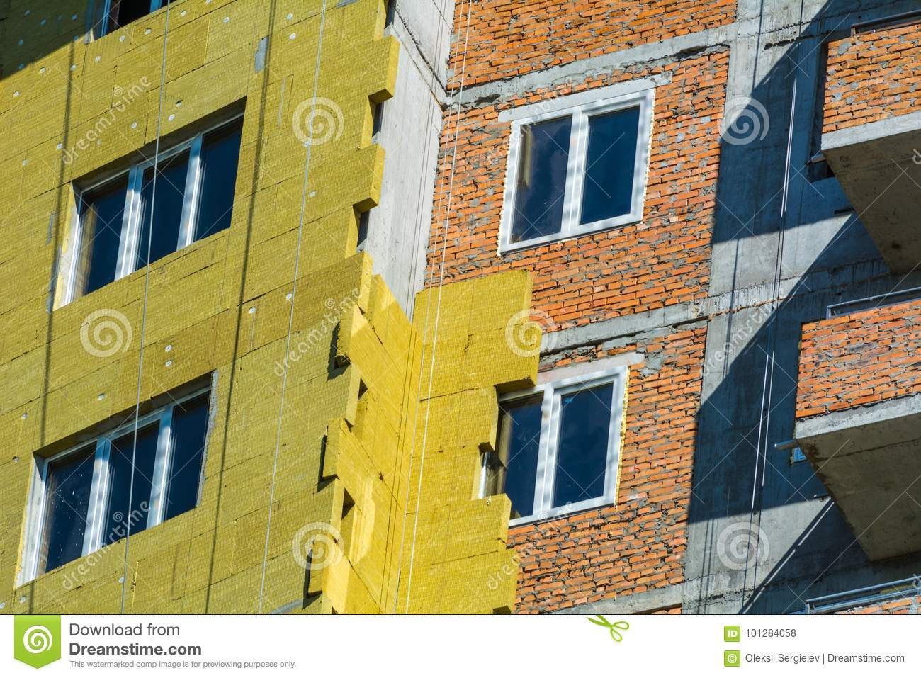 Work On The External Walls Of Glass Wool Insulation And Plaster ...