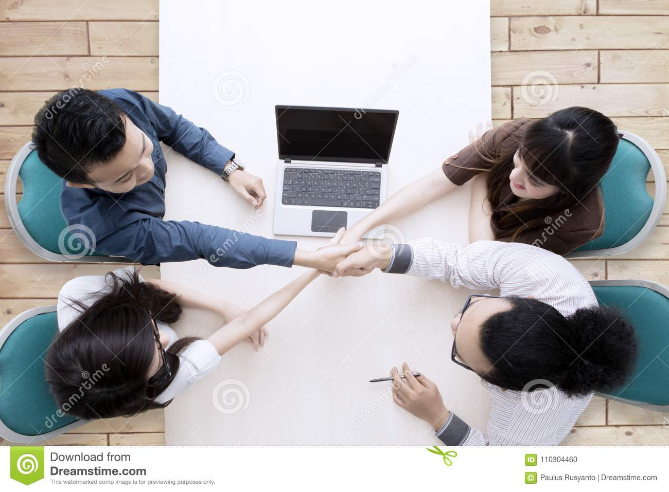 High Angle Photo Of Business People Comes To An Agreement Stock