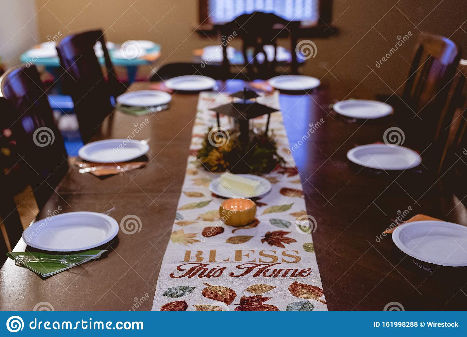 High Angle Shot Of A Table Runner On A Dinner Table With A Blurred Background Stock Photo Image Of Healthy Homemade 161998288