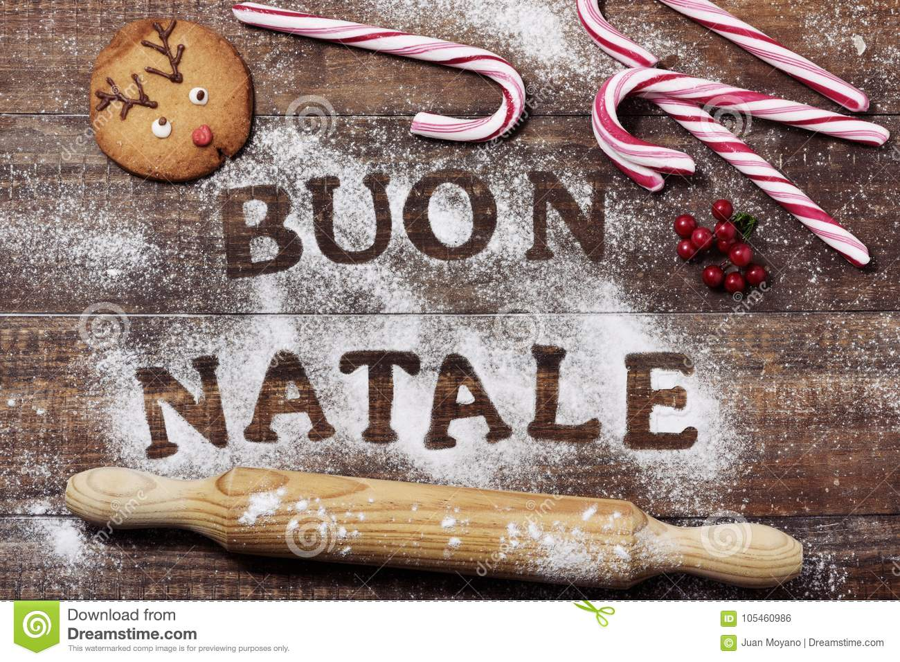 text buon natale merry christmas in italian stock photo. Black Bedroom Furniture Sets. Home Design Ideas