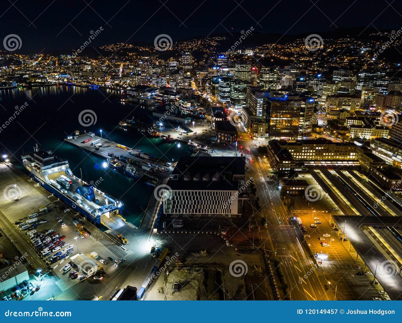 Aerial Wellington City Lights At Night New Zealand Capital Stock