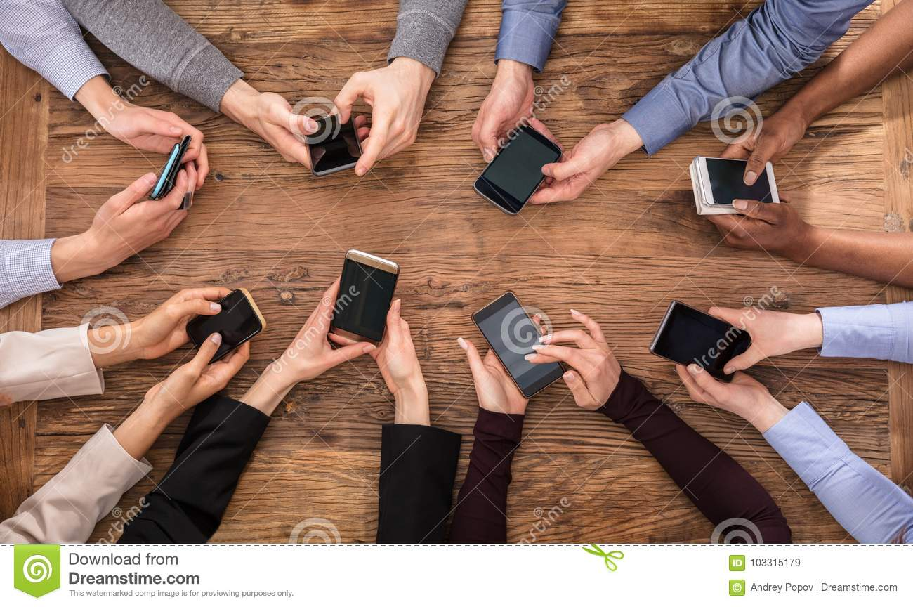 Businesspeople Hand Using Mobile Phone