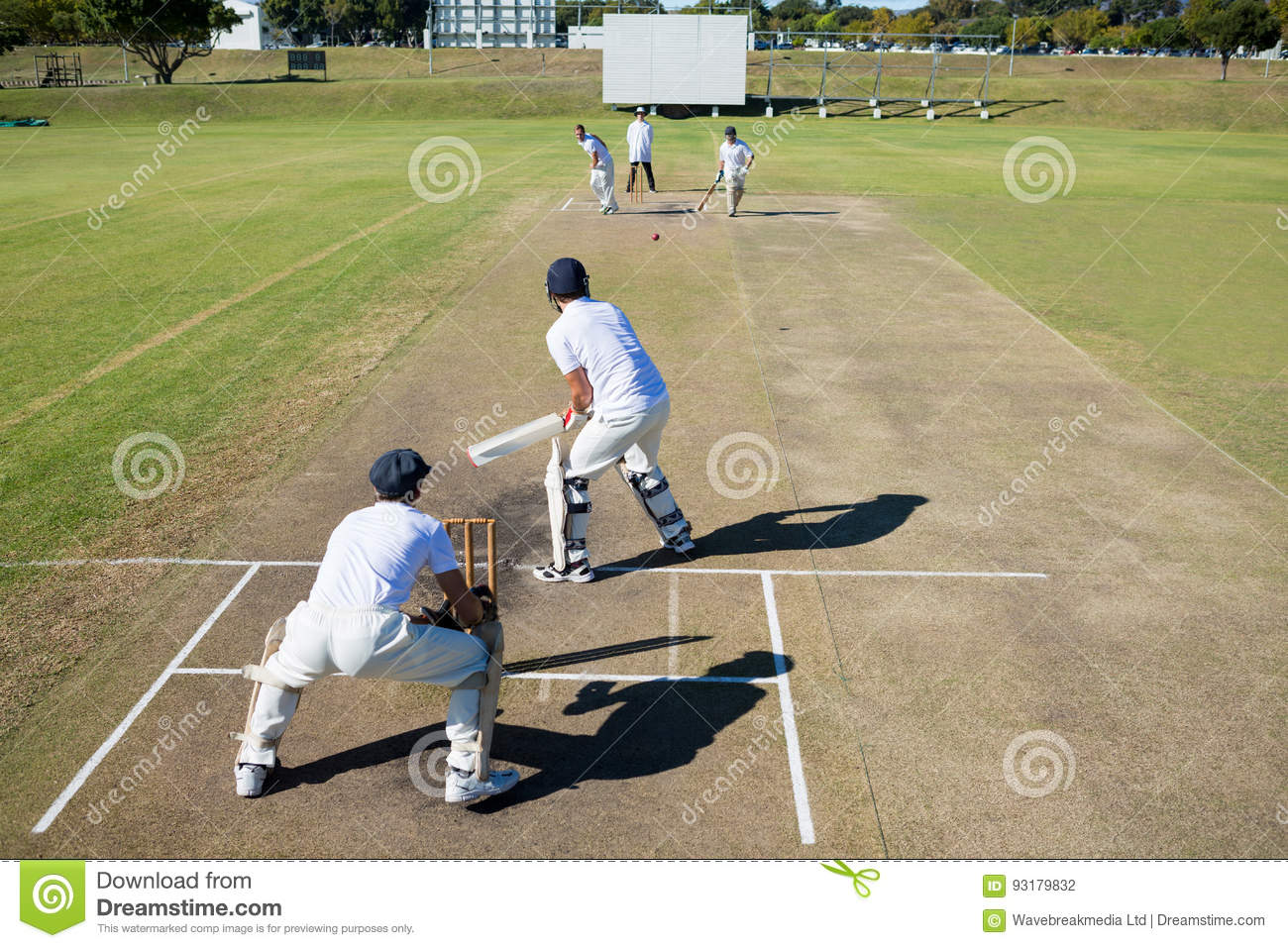 High angle view of cricket match at field