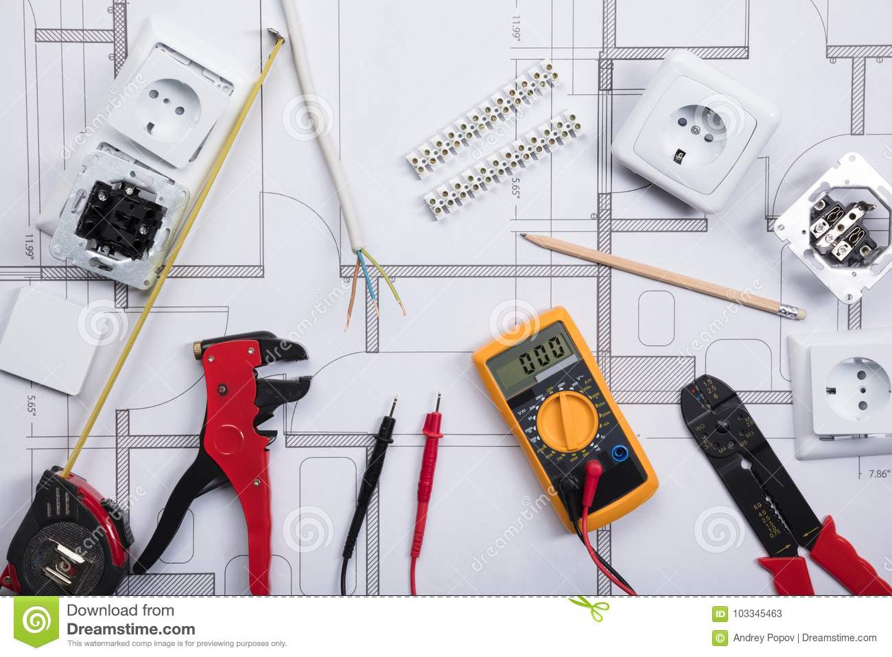 Electrical Instrument With Tools On A Blueprint Stock Image Image