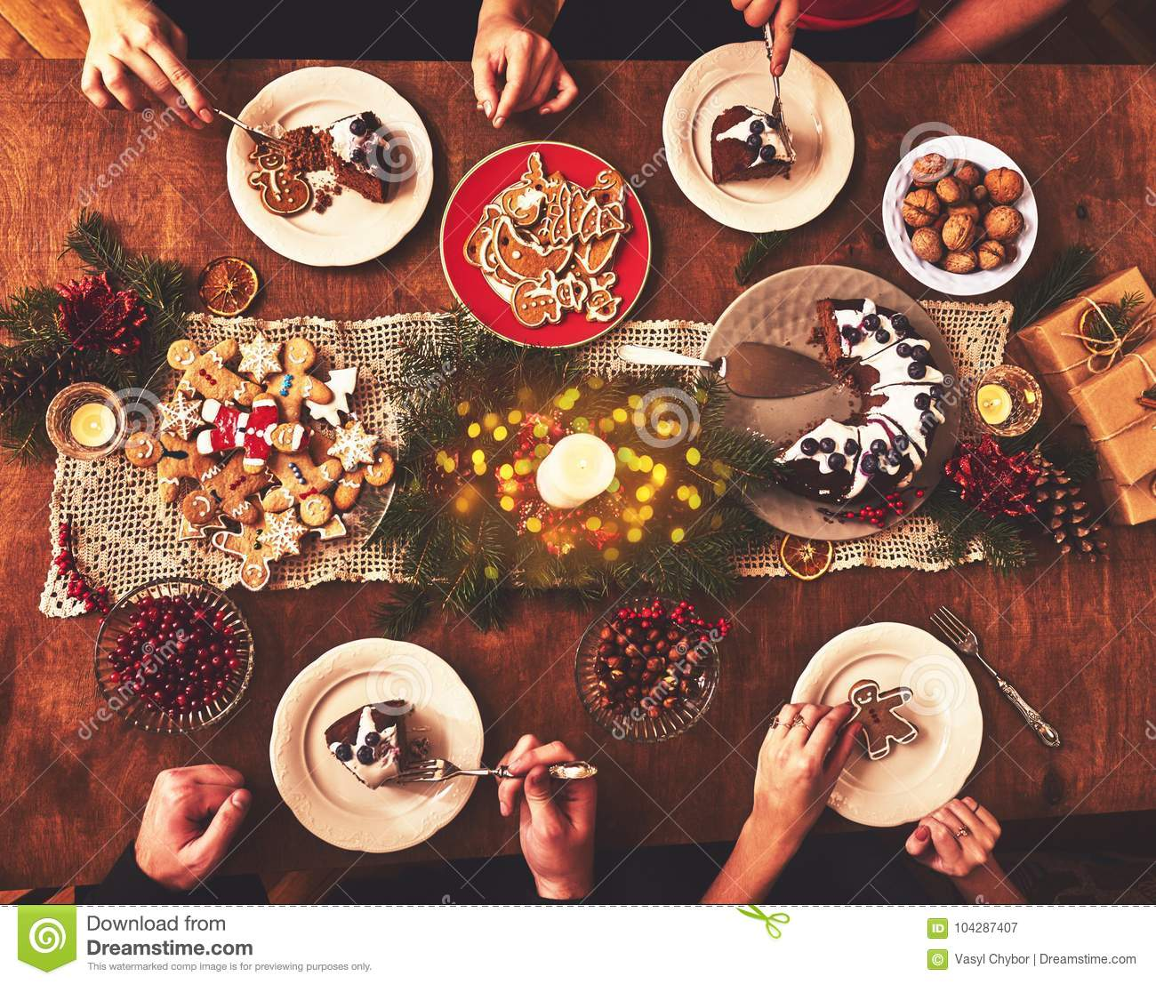 High angle view of table served for Christmas family dinner. Tab