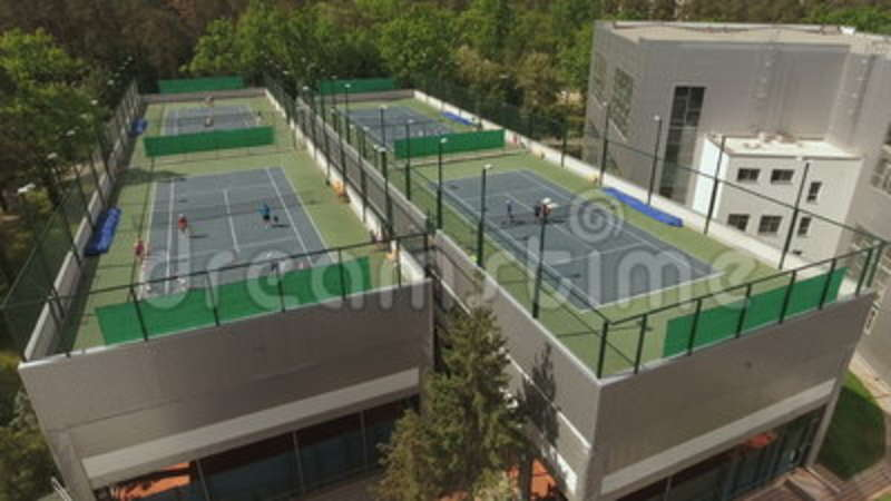 High Angle View At The Tennis Courts Stock Video Video Of Player