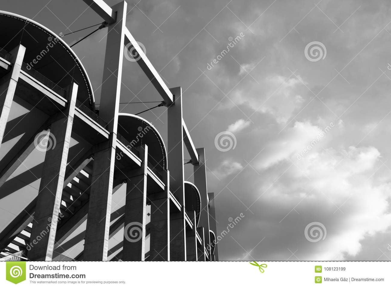 High architectonic vertical lines of a contemporaneous building black&white
