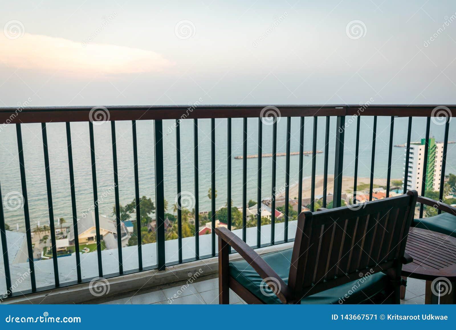 Balcony view to see a sea and sky at Hua-Hin, Thailand.