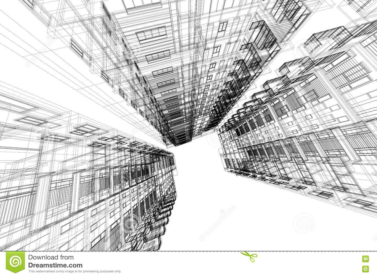 High building structure architecture abstract 3d for Online architecture drawing