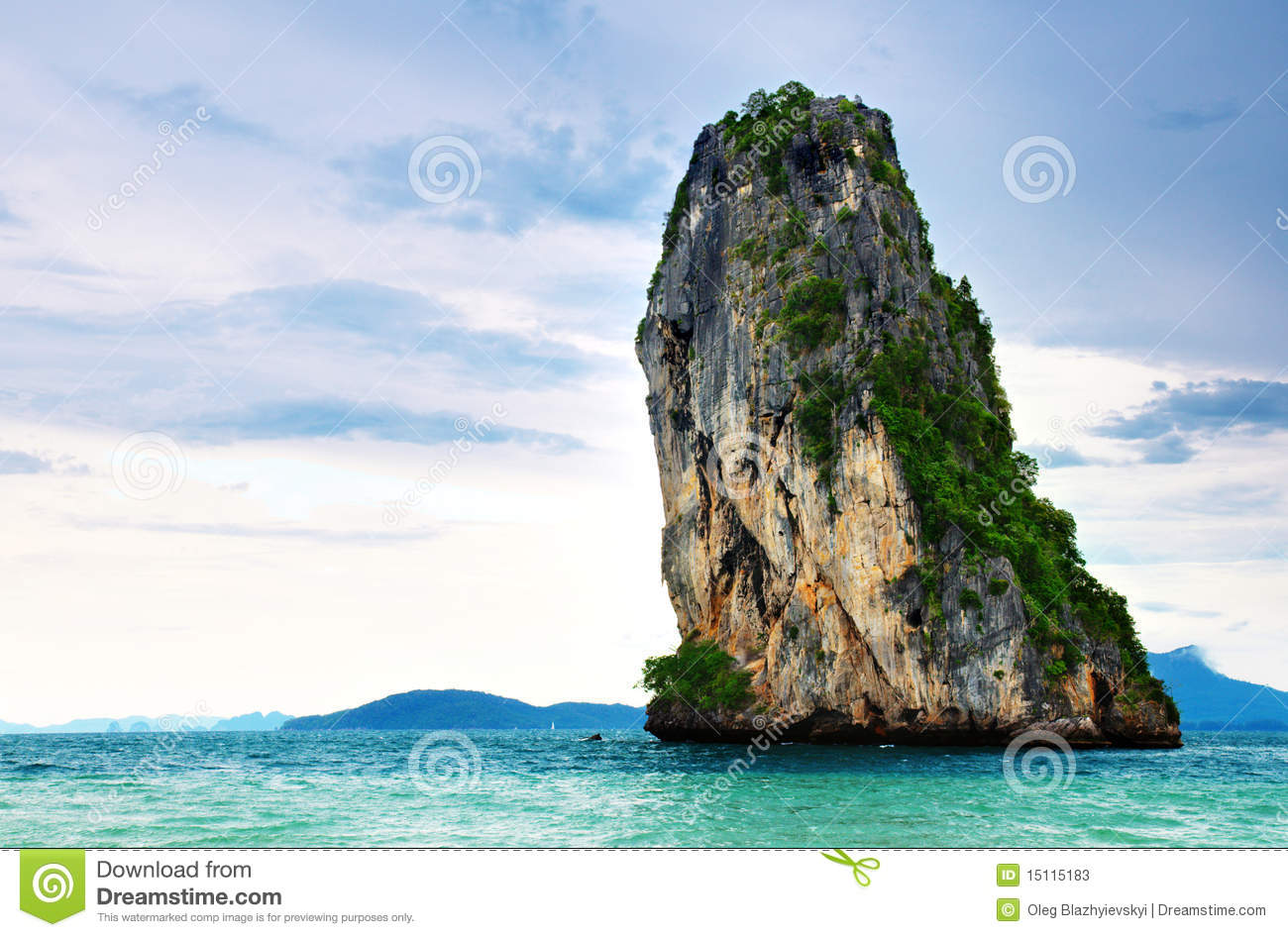 High cliffs on the tropical island