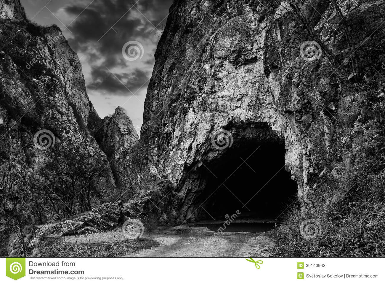 black and white cave stock photos image 30140943