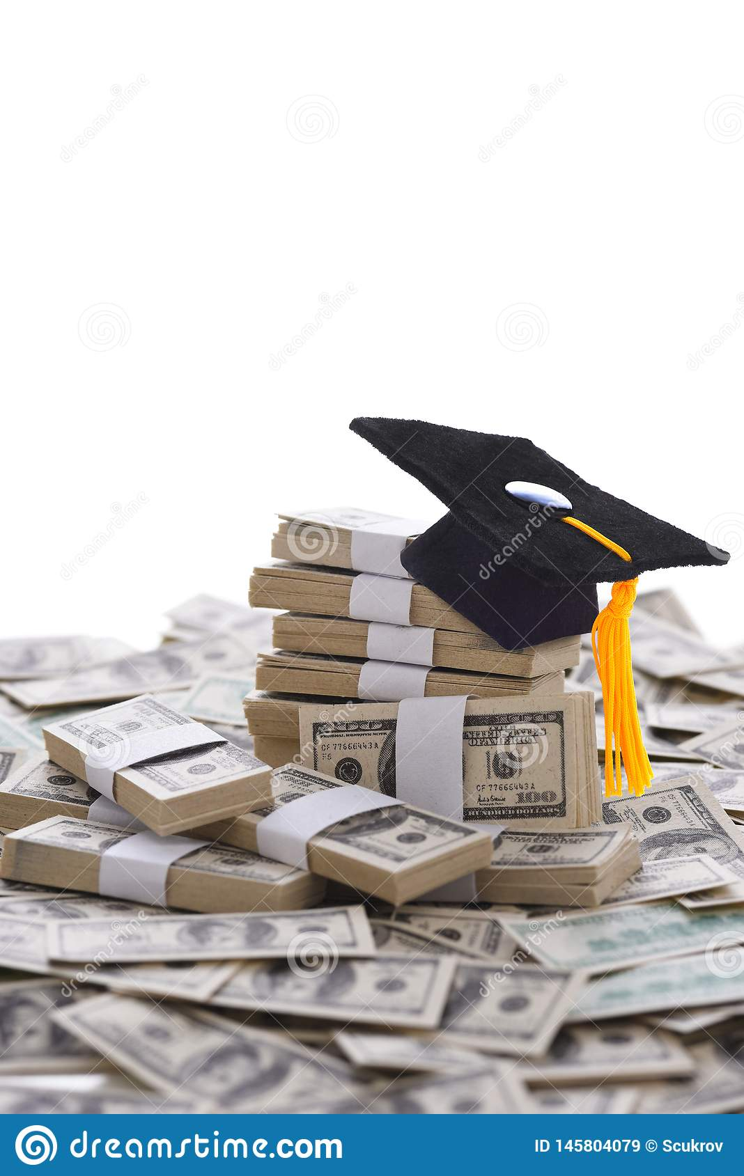 The High cost of higher education concept, mortarboard on Money