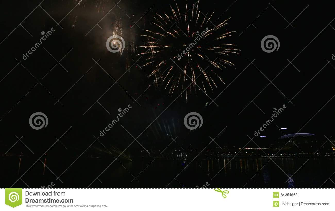 Amazing High Definition Movie Of New Year`s Eve Festive Firework Show Celebration  At Night In Singapore 1080p Hd Stock Footage   Video Of 1920x1080, ...