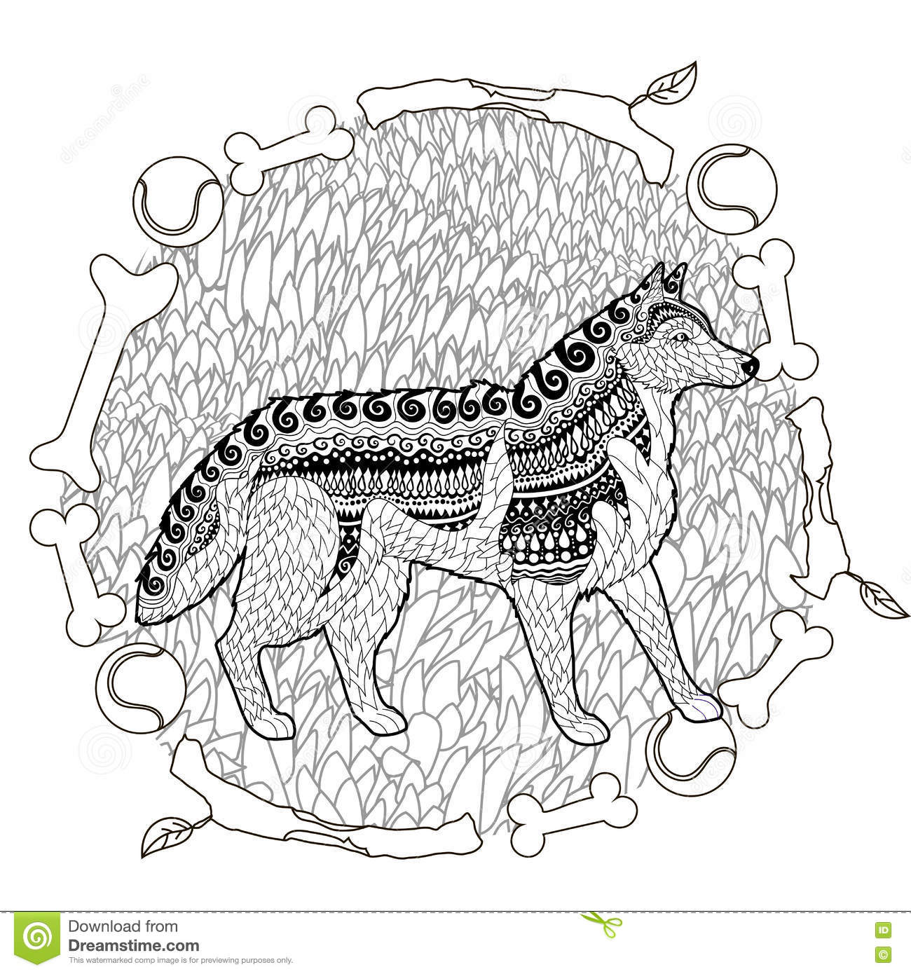 high detail patterned husky stock vector image 77379789