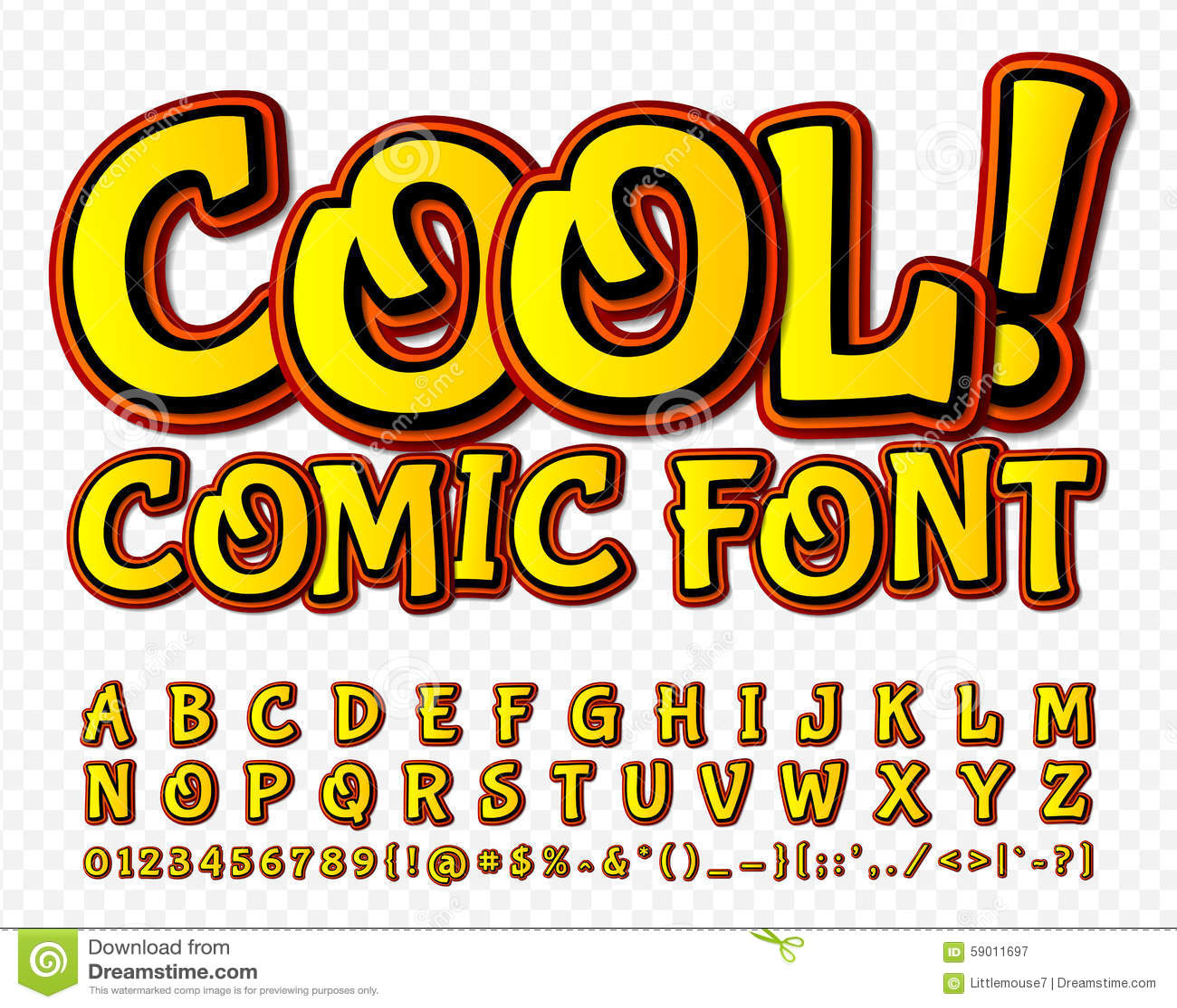 High Detail Yellow Comic Font. Alphabe, Comics, Pop Art. Stock ...