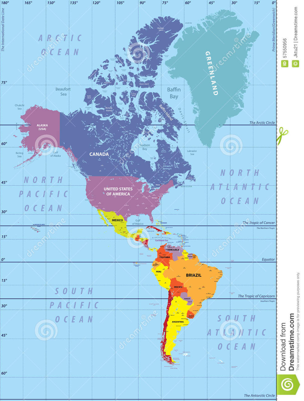 High Detailed Map Of North And South America Stock Vector Image 57550956