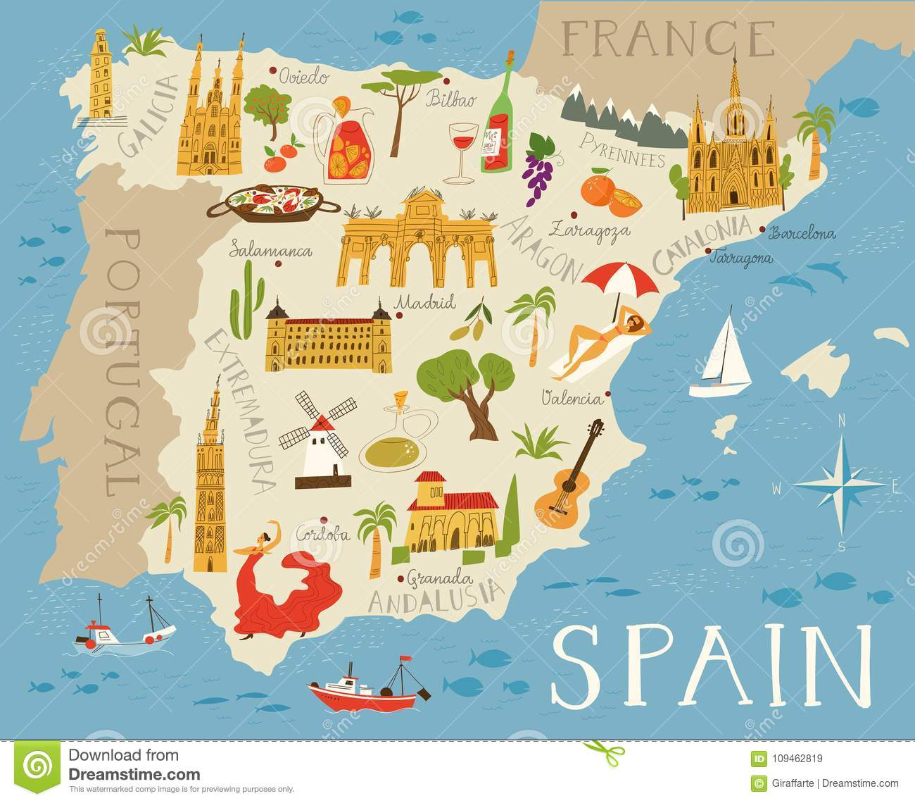 High detailed map of Spain stock vector. Illustration of ... on map of equatorial guinea in spanish, map of barcelona in spanish, map of paraguay in spanish, map of cities in espana, map of countries that speak spanish, map of the world in spanish, map of china in spanish, map of dominican republic in spanish, map of north america in spanish, map of spanish speaking countries, map of egypt in spanish, map of spanish speaking world, map of united states in spanish, map of austria in spanish, capital of venezuela in spanish, espana capital in spanish, map of trinidad in spanish, map of continents in spanish, map of puerto rico in spanish, map of england in 1500,