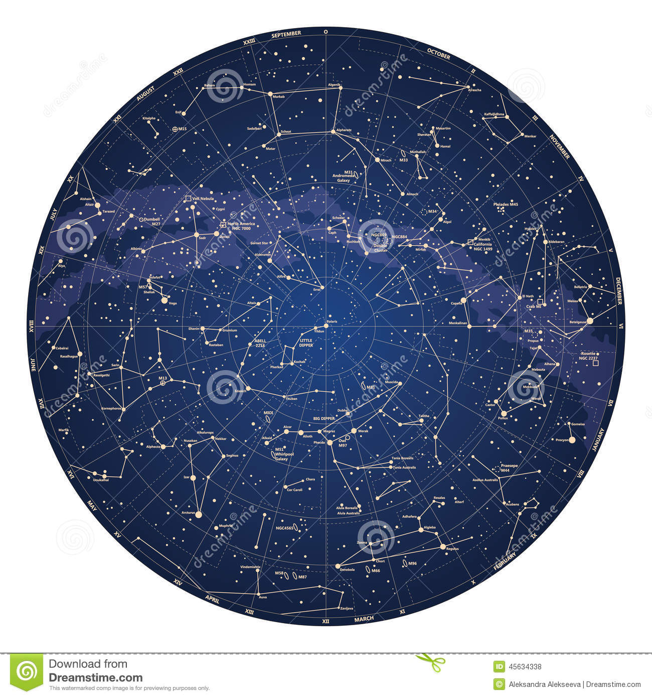 High Detailed Sky Map Of Northern Hemisphere With Names Of Stars Stock ...