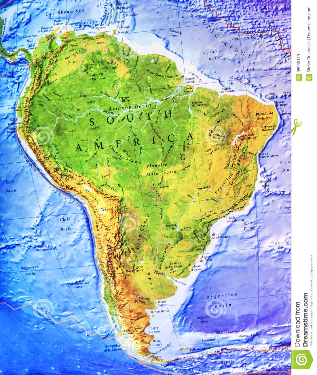 High Detailed South America Physical Map With Labeling Stock Image ...