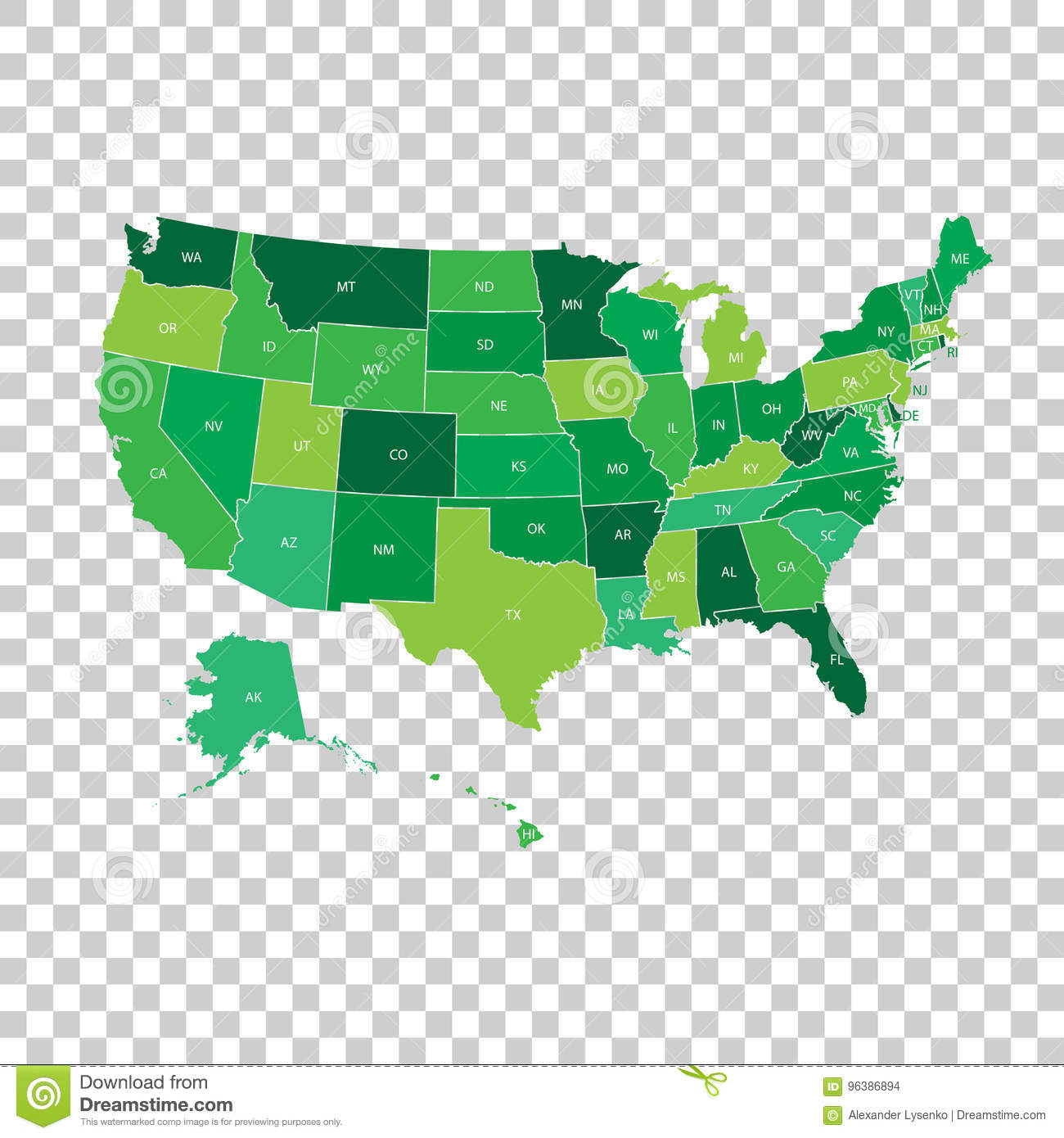 High Detailed USA Map With Federal States. Vector ...