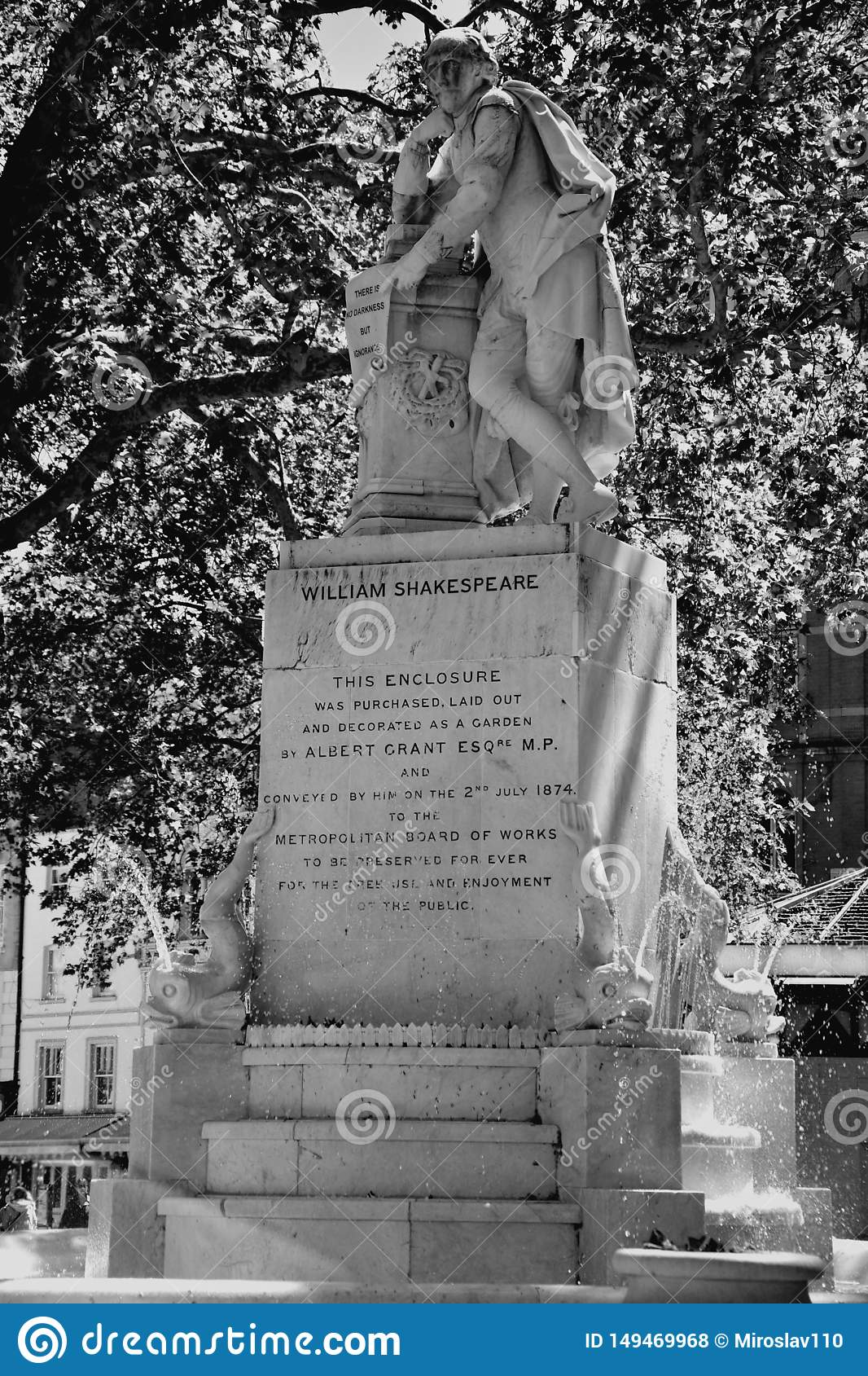 High dynamic range HDR Statue of William Shakespeare built in 1874 in Leicester Square in London, UK