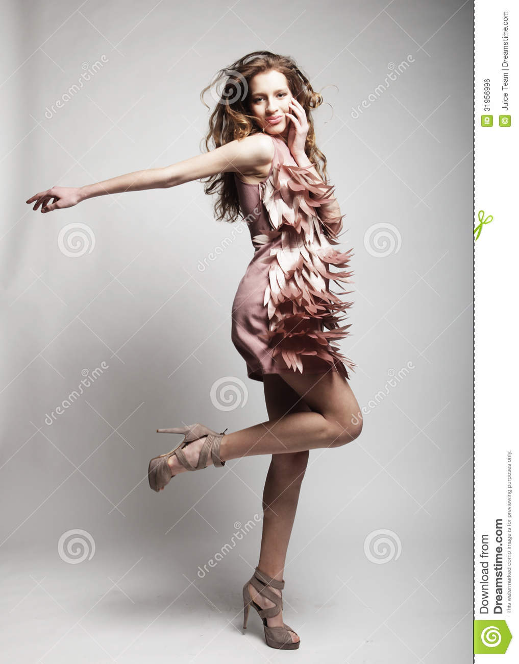 High end fashion model with curly hair royalty free stock image