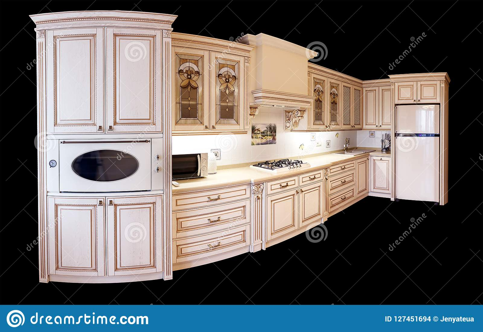 High end luxury furniture interior of angular modern furniture for a kitchen in classic