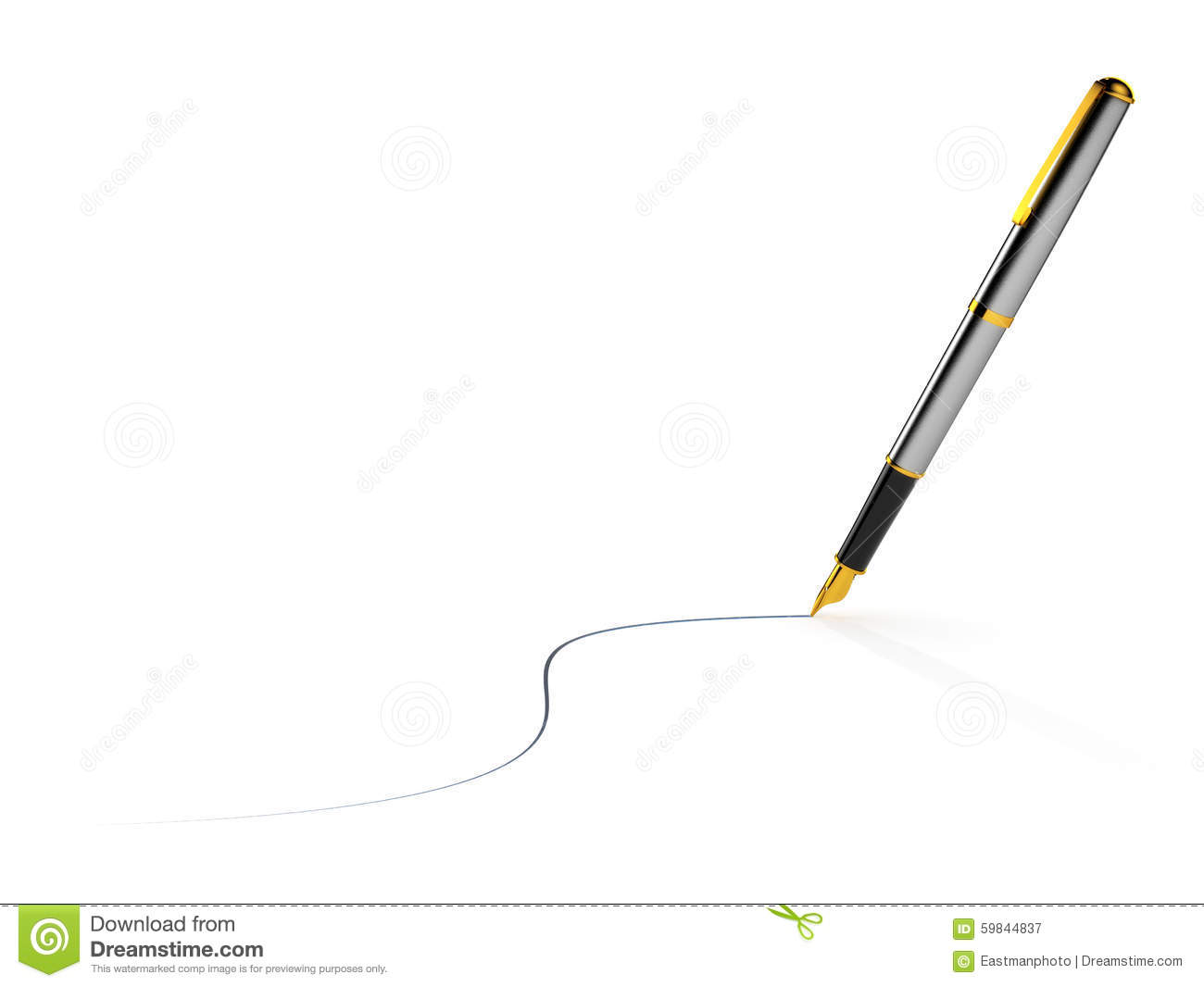 Drawing Red Lines With Blue Ink : High end pen drawing blue ink line isolated stock photo