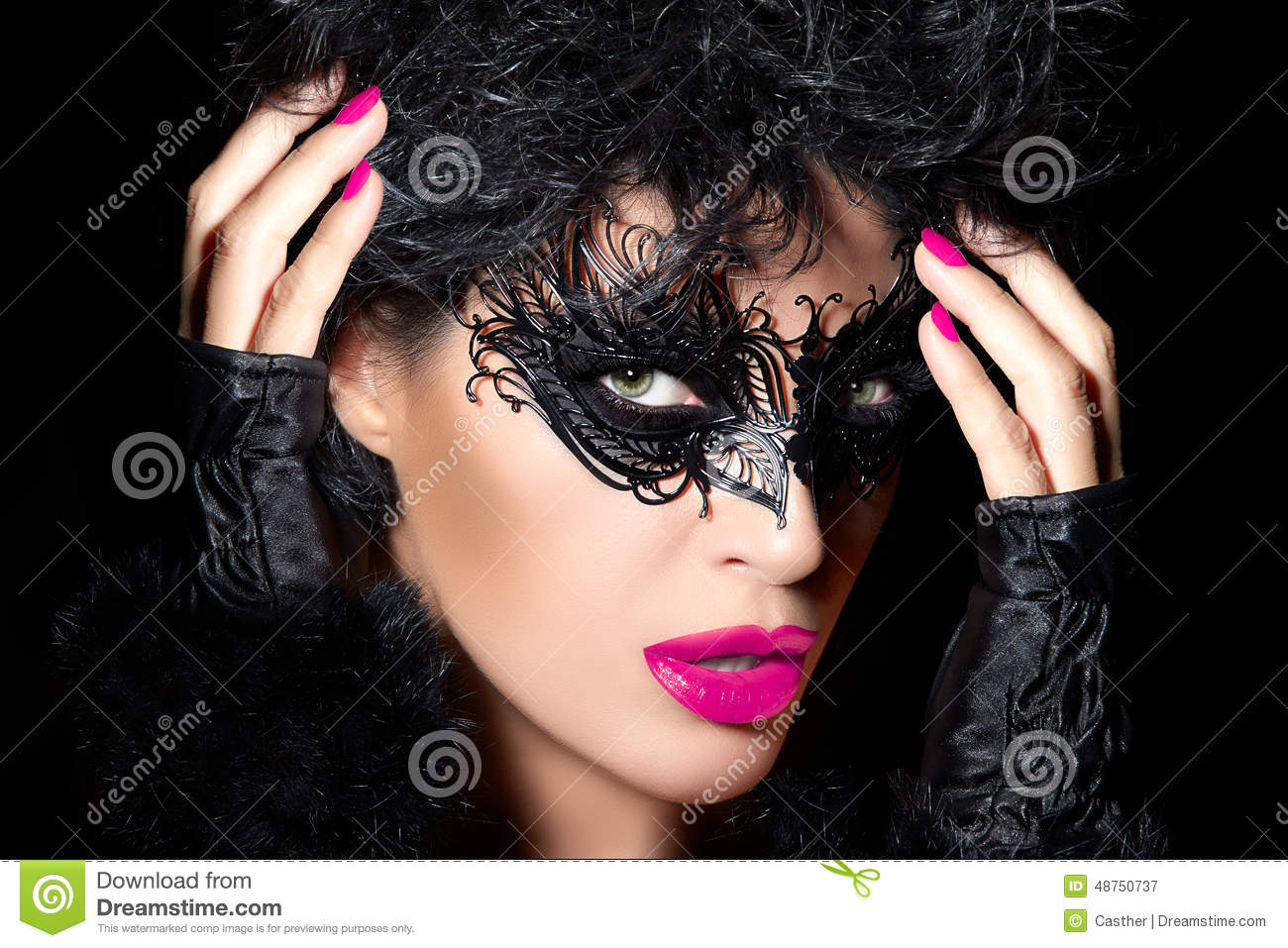 High Fashion Model In Creative Masquerade Eye Makeup Stock ...
