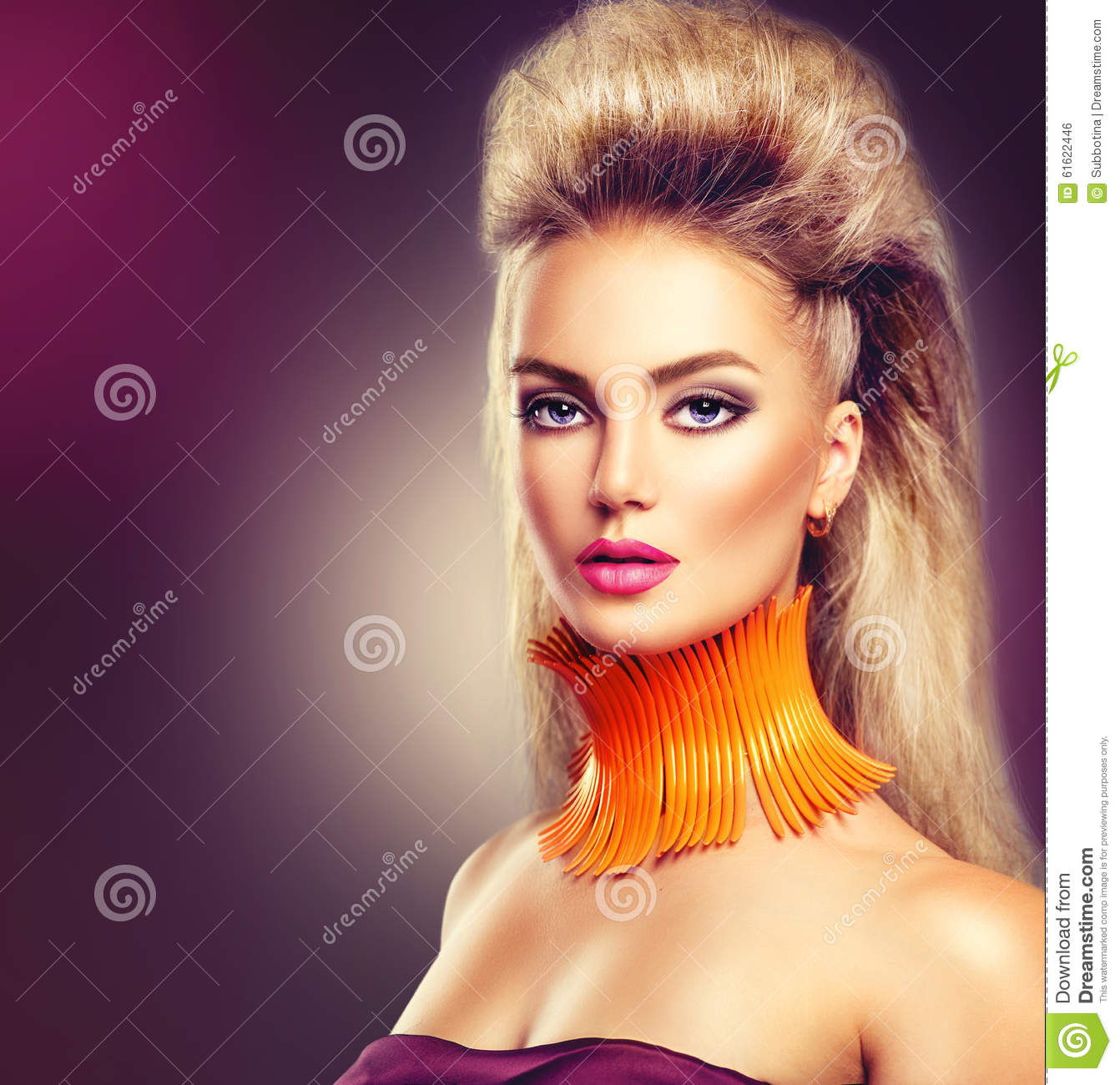 High Fashion Model Girl With Mohawk Hairstyle Stock Photo