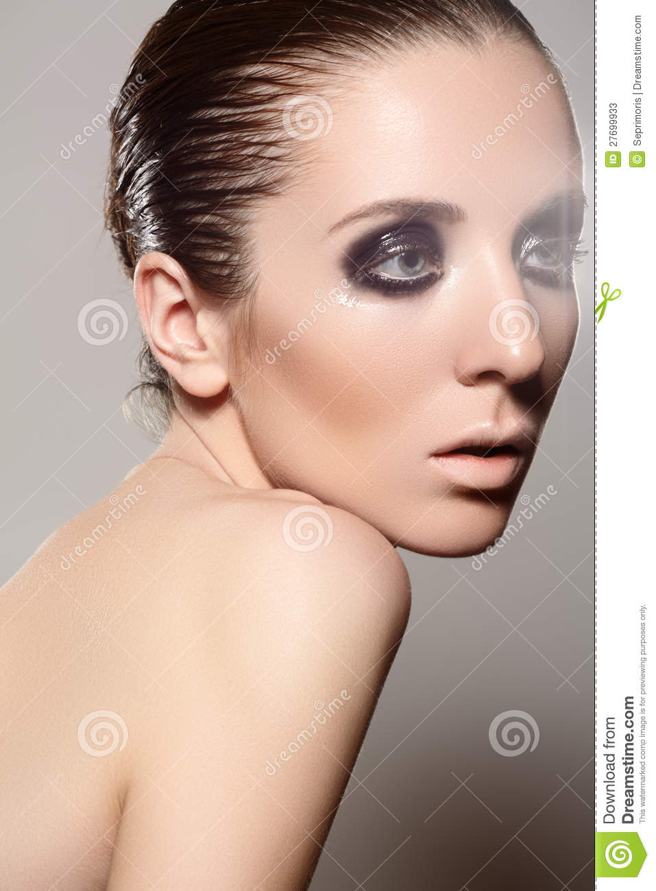 High Fashion Style Model With Dark Gloss Make Up Wet