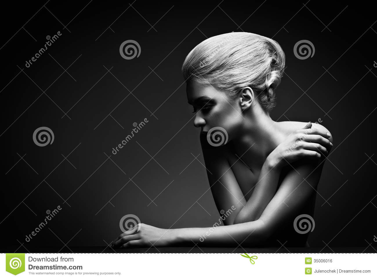 High Fashion Woman With Abstract Hair Style Royalty Free