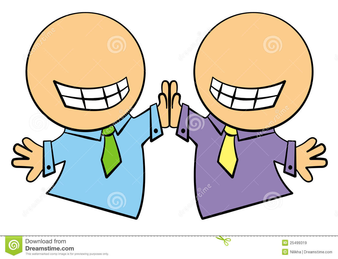 Two cartoon business characters giving each others high fives.