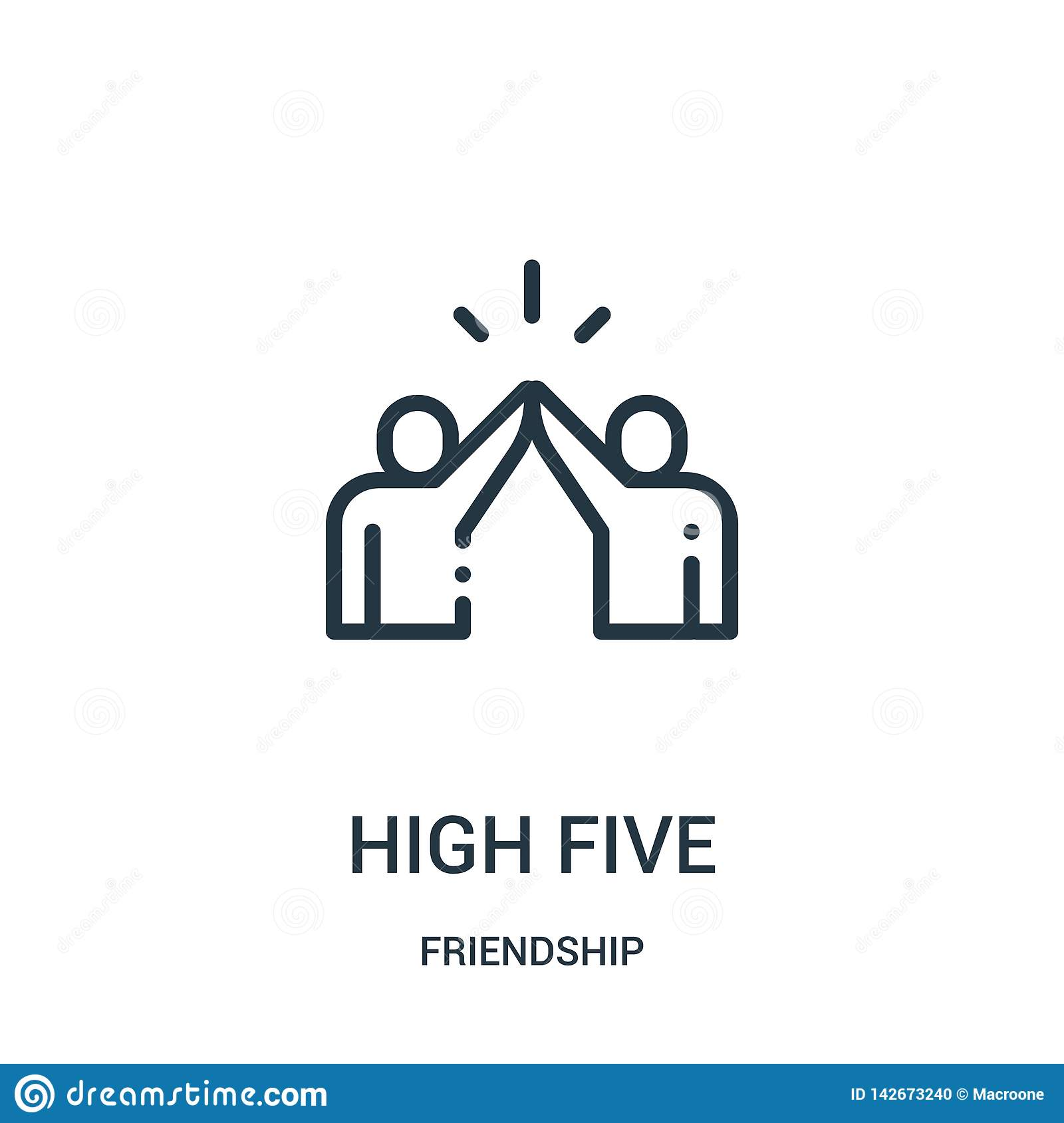 high five icon vector from friendship collection. Thin line high five outline icon vector illustration. Linear symbol for use on