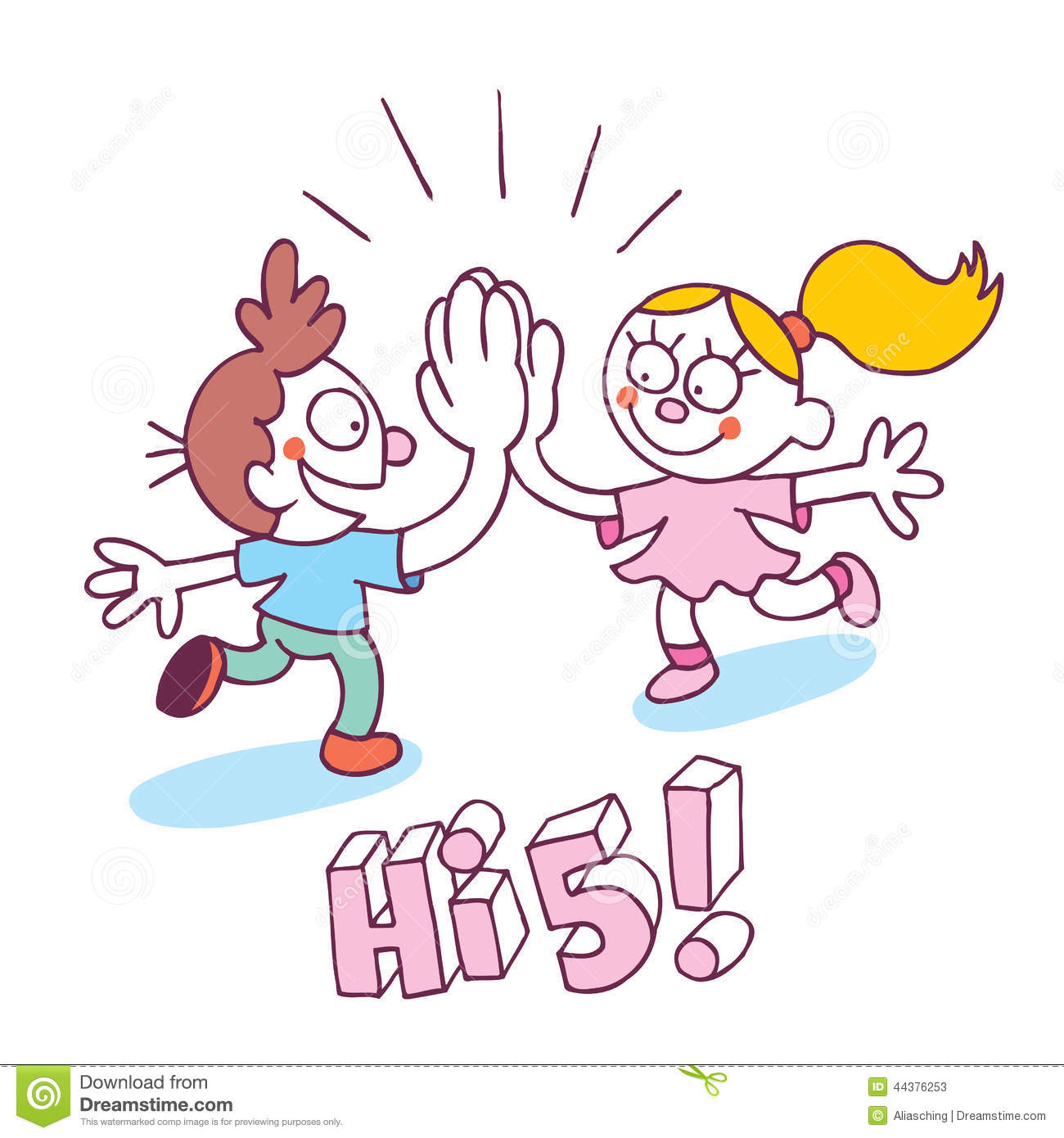 high five kids stock vector illustration of pose force 44376253