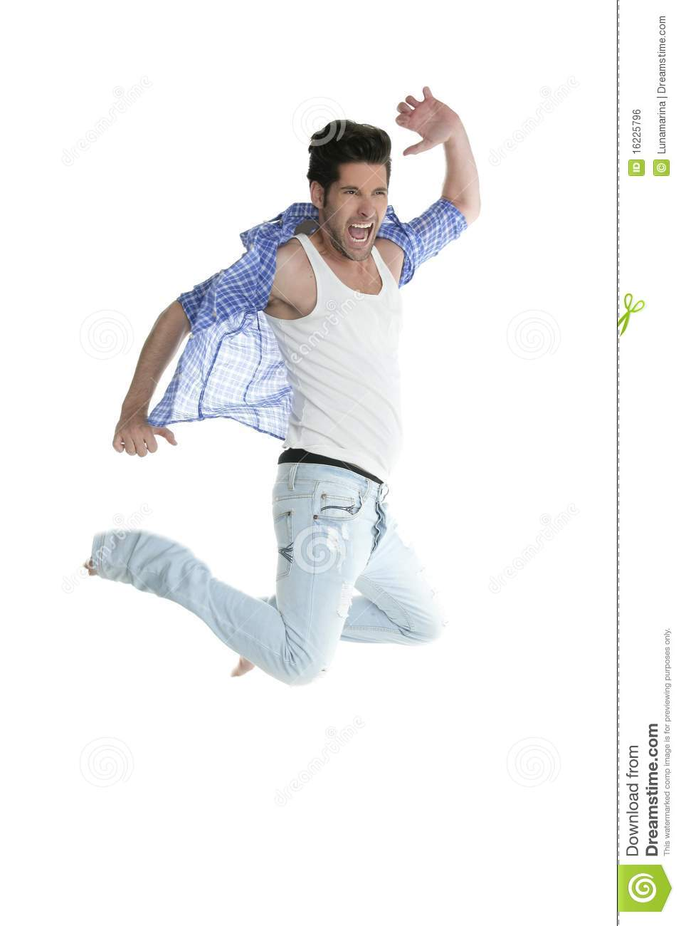 high fly man jumping denim fashion jeans on white royalty