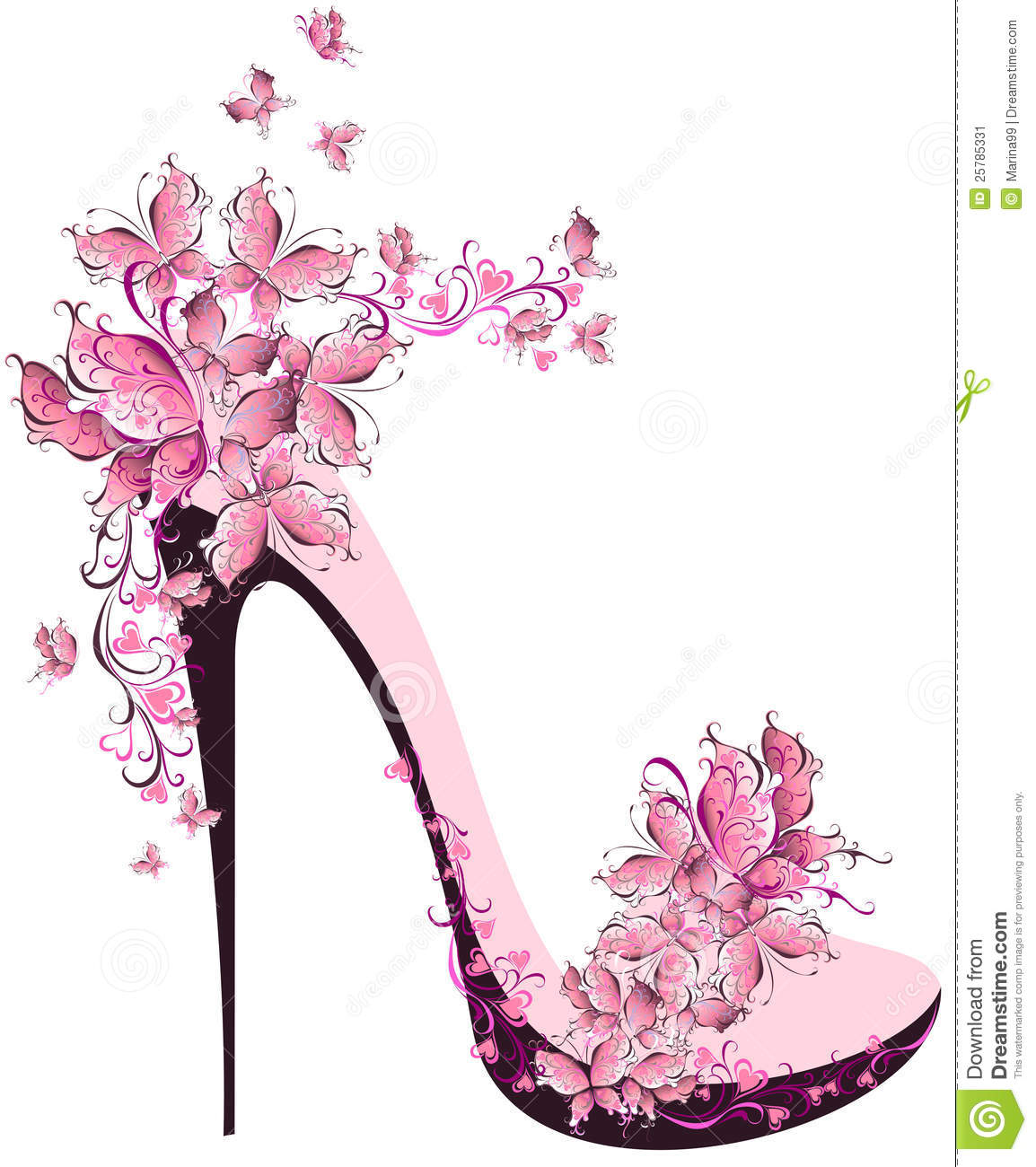 High heel decorated with butterflies
