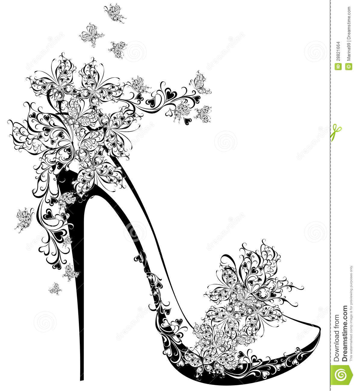 High Heel Decorated With Flowers