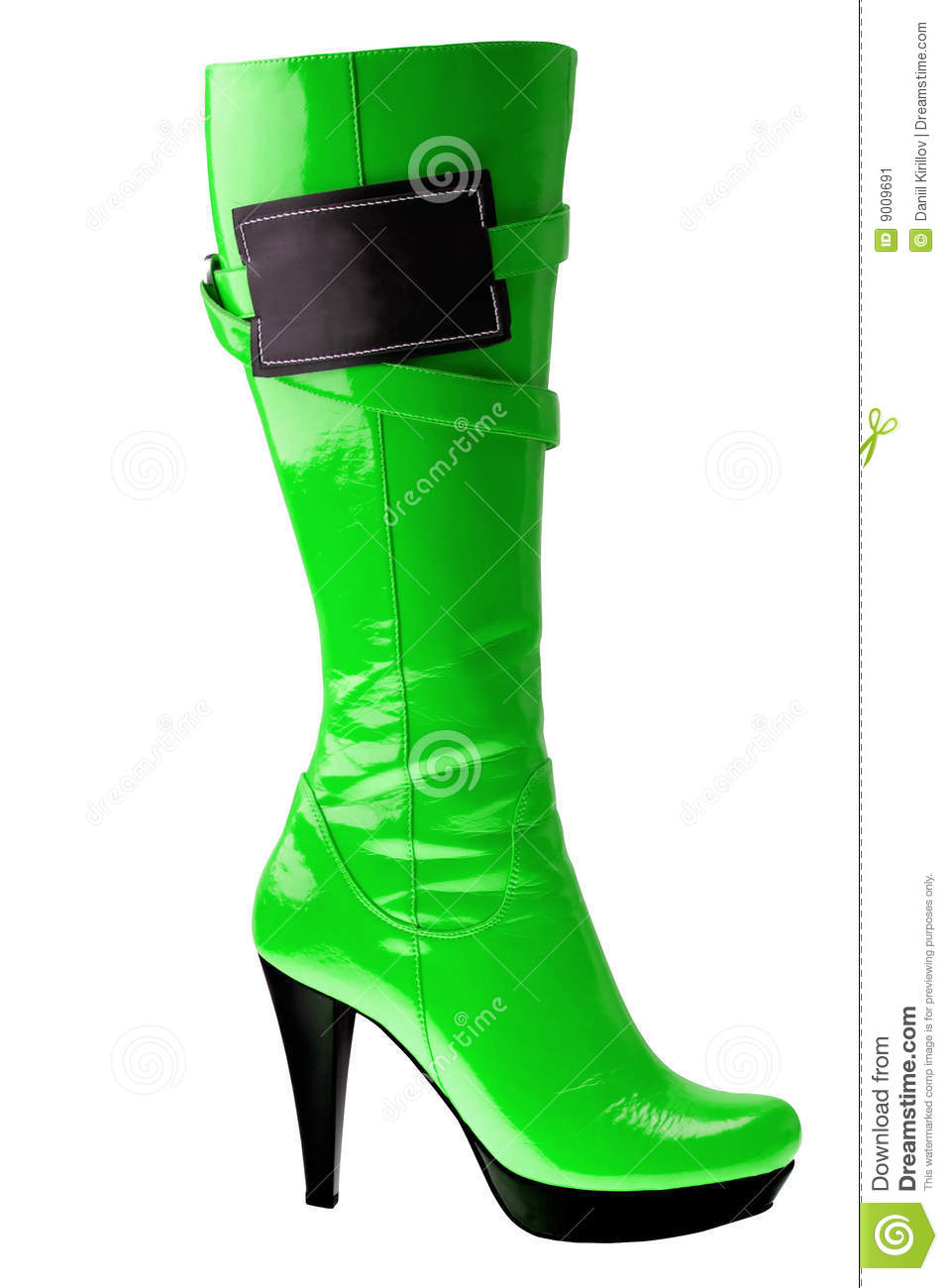 high heel fashion green boot isolated on white stock image