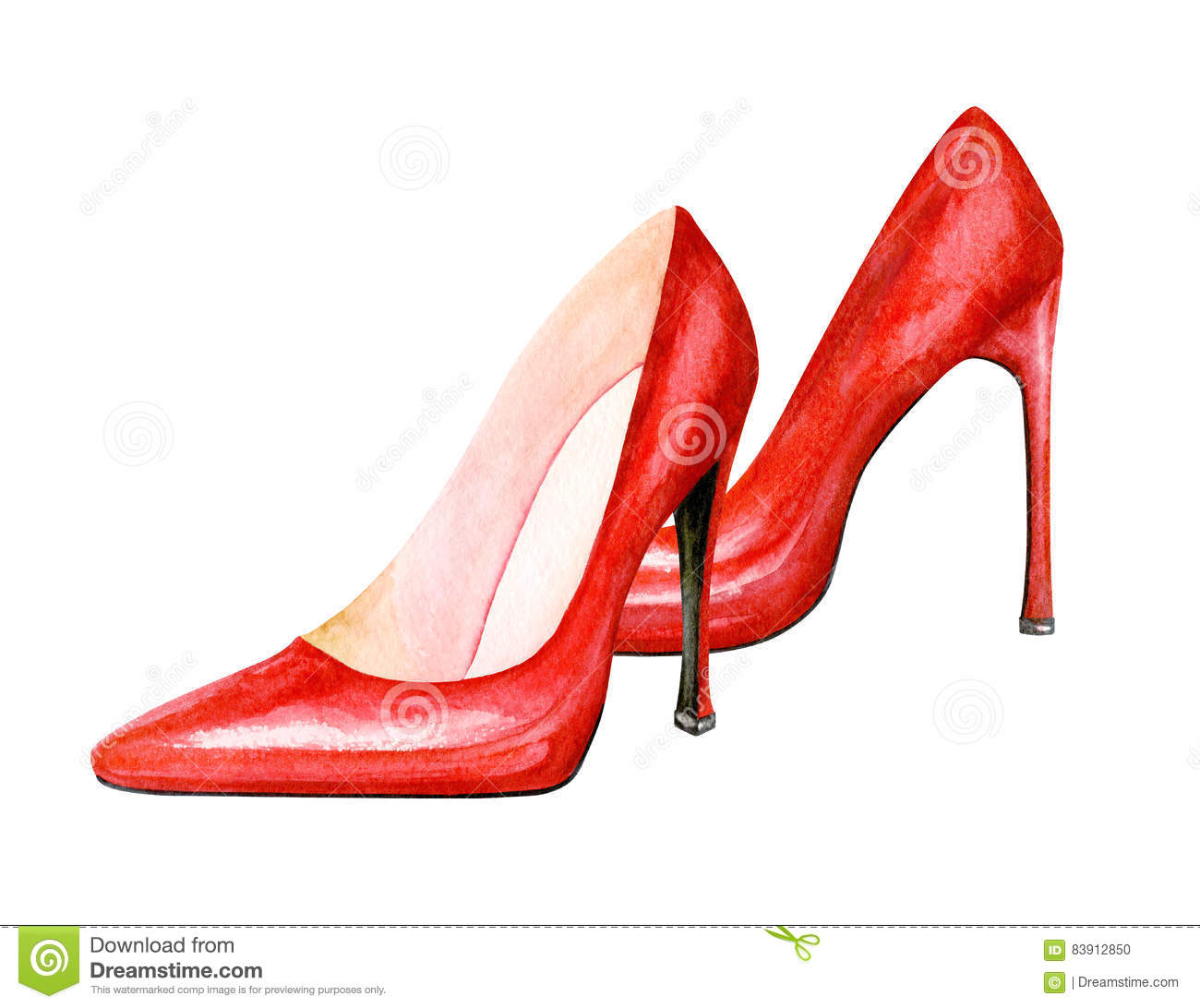 High Heel Red Shoes. Watercolor Illustration Stock ...