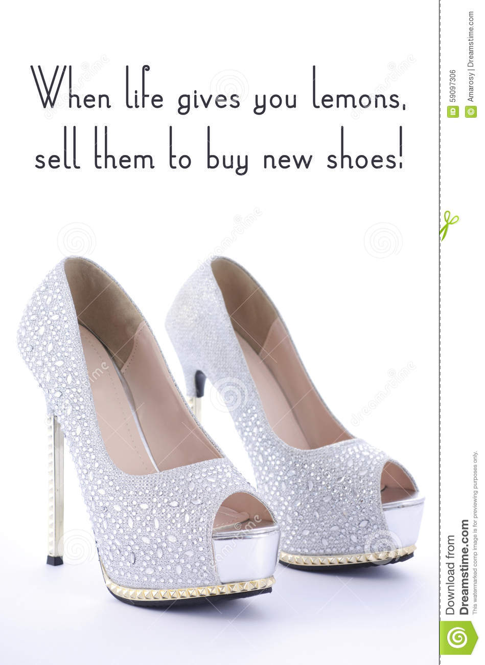 High Heel Rhinestone Shoes With Funny Saying Text Stock Photo Image Of Heels Fashion 59097306